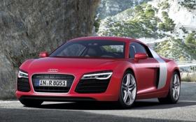 Картинка дорога, красный, скалы, Audi, Ауди, суперкар, передок