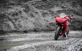 Картинка красный, мотоцикл, red, суперспорт, Ducati, дукати, насыпь