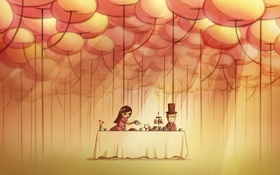 Обои романтика, рисунок, пара, Обои, чаепитие, свидание, ужин