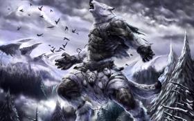 Картинка зима, лес, снег, горы, птицы, животное, фэнтези