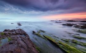 Обои море, пляж, камни, бухта, выдержка, Испания
