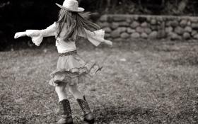 Картинка трава, природа, дети, фон, настроения, юбка, шляпа