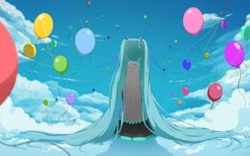 Картинка небо, девушка, облака, шарики, спина, vocaloid, hatsune miku