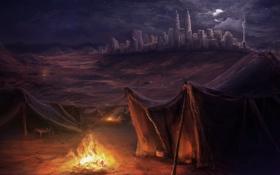 Обои костер, город, арт, ночь, палатки