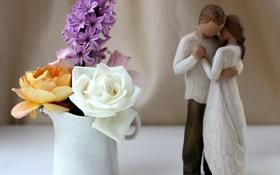 Картинка цветы, розы, пара, чашка, белая, статуэтка, желтая