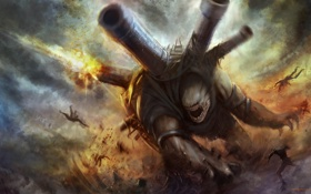 Обои люди, огонь, монстр, пушки, арт, битва, cloudminedesign