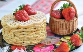 Обои ягоды, клубника, корзинка, блины, поднос