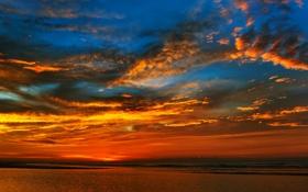 Обои море, небо, облака, закат, горизонт, зарево
