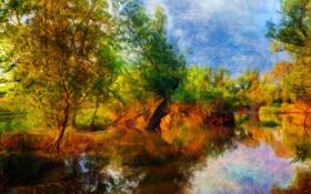 Картинка осень, деревья, рисунок, размытость