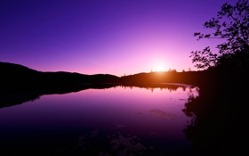 Обои закат, озеро, Canada, Quebec