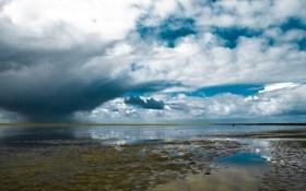 Обои небо, облака, залив, Исландия, мелководье
