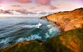 Обои море, небо, трава, вода, горы, фото, океан