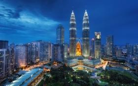 Обои night, Малайзия, Kuala Lumpur, Blue Hour, Malaysia, Куала-Лумпур
