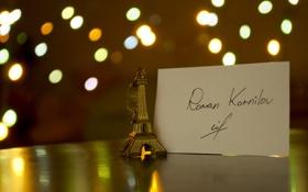 Картинка свет, огни, стол, автограф, боке, имя, подпись