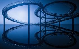 Картинка отражение, люди, лестница, ступени