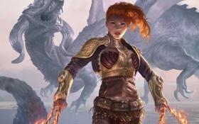 Картинка девушка, оружие, огонь, дракон, арт, рыжая