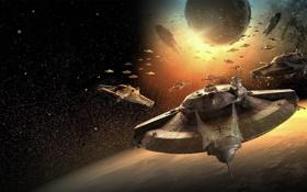 Картинка космос, звезды, планета, корабли, Iron Sky, Invasion