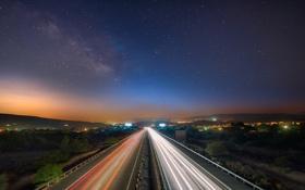 Картинка дорога, небо, звезды, ночь, фонари