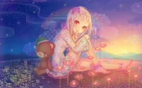 Картинка звезды, облака, цветы, горы, ночь, город, рассвет