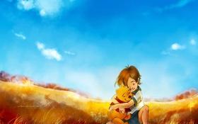 Обои поле, трава, облака, детство, мальчик, улыбки, объятие