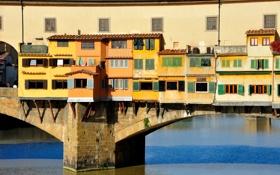 Картинка мост, река, Италия, Флоренция, Понте Веккьо, Арно, коридор Вазари