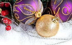 Обои Рождество, украшения, Christmas, праздник, New Year, Новый Год, шарики