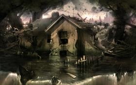 Картинка вода, дом, камни, водопад, арт, потоп, руины