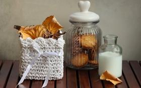 Обои осень, листья, еда, молоко, пирожное, натюрморт, десерт