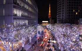 Картинка ночь, огни, улица, башня, дома, Япония, Токио