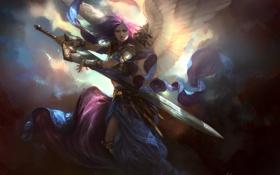 Картинка девушка, крылья, меч, арт, Akroma, Angel of Calm