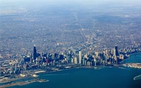 Обои город, небоскребы, чикаго, chicago, вид с верху, иллинойс, мичиган