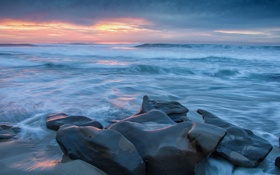 Картинка закат, камни, горизонт, небо, волны, море, берег