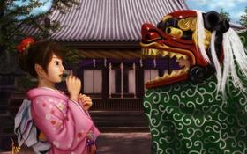 Обои девушка, дракон, голова, арт, костюм, кимоно, ebi