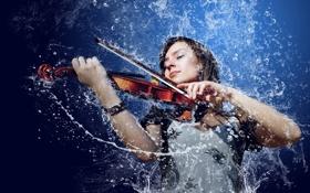 Картинка вода, девушка, брызги, музыка, скрипка, брюнетка, смычок