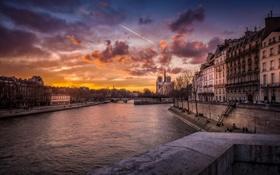 Картинка город, река, Франция, нотердам дэ пари