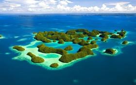 Картинка зелень, Море, острова, океан