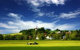 Картинка поле, трава, работа, транспорт, пейзажи, поля, дома