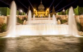 Картинка ночь, огни, фонтан, музей, Испания, каскад, дворец
