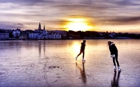 Обои лед, люди, дома, каток, Исландия
