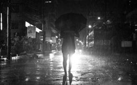 Обои свет, зонтик, дождь, улица, фары, человек, силуэт