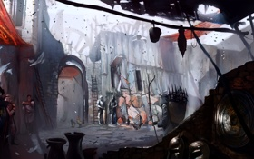 Обои город, люди, дома, киркволл, dragon age 2, concept art
