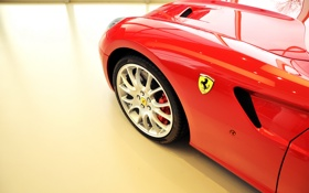 Обои Ferrari, red, logo, wheels