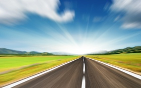 Картинка дорога, пейзажи, дороги, скорость