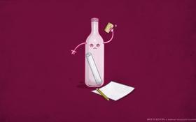 Обои послание, Бутылка, письмо