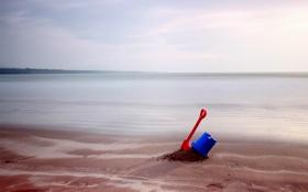 Картинка ведро, лопата, море