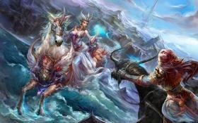 Обои девушки, скалы, эльфийка, дракон, волны, море, forsaken world