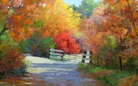 Картинка дорога, осень, деревья, забор, ворота