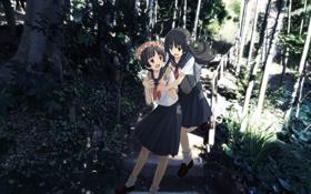 Картинка обнимание, ступеньки, Toaru Majutsu no Index, портфель, Toaru Kagaku no Railgun, Девушки, улыбка