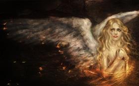 Обои art, angel, крылья, девушка, ангел