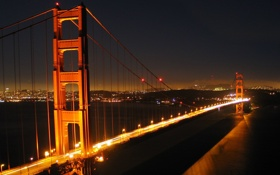 Обои ночь, мост, огни, Сан, Франциско